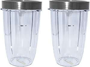 Blendin 2 Pack 24 Ounce Tall Cup with Lip Rings, Compatible with Nutribullet 600W 900W Blenders
