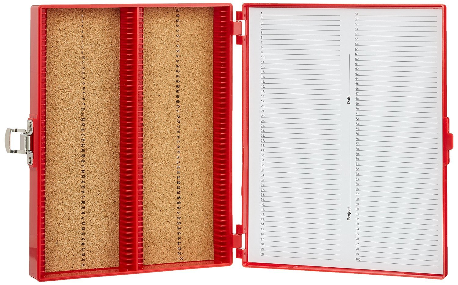 Heathrow Scientific HD15994C Microscope Slide Box, Cork Lined, 100 Place, 208 mm Length x 175 mm Width x 34 mm Height, Red HS15994C