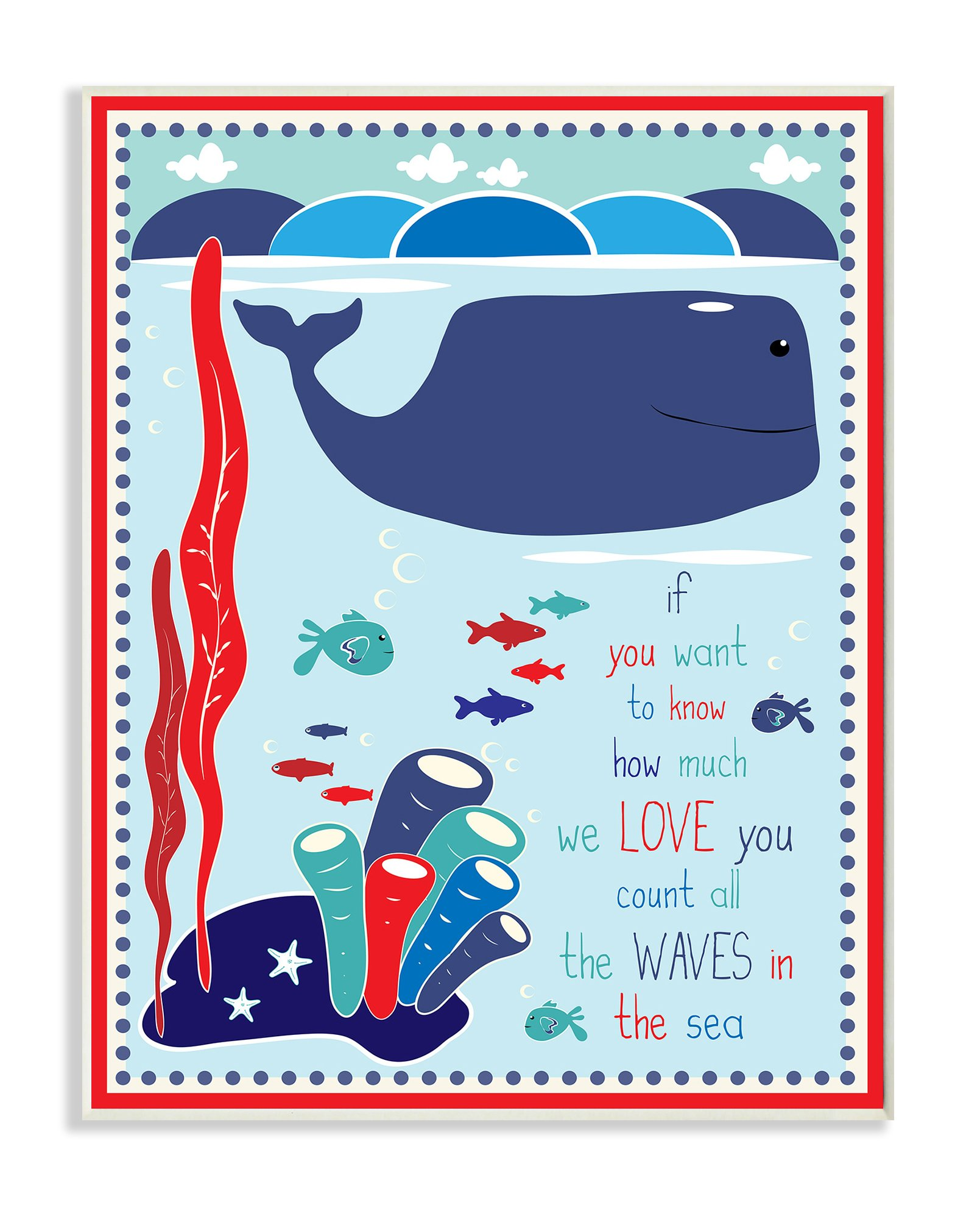 The Kids Room by Stupell Graphic Art Wall Plaque, Whale In The Ocean, 11 x 0.5 x 15, Proudly Made in USA