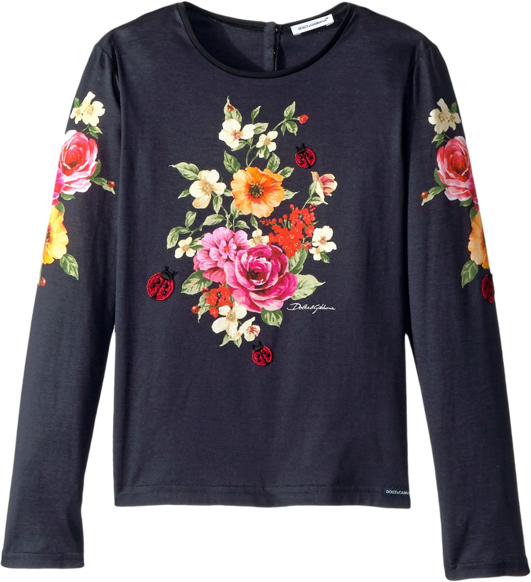 Dolce & Gabbana Kids Girl's Back to School Floral Long Sleeve T-Shirt (Big Kids) Navy 8