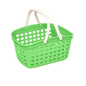Plastic Storage Basket with Handles - Small Bin Organizer Bathroom, Kitchen, Playroom, Garden by Valenoks (Soft-Green)