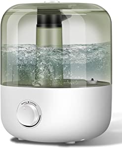 YJY Humidifiers with Essential Oils Diffuser, Top Fill Large Cool Mist Humidifier for Bedroom 3L/30Hours, Ultrasonic,Easy Clean,Never Leak,No Scale,Whisper Quiet,Auto Shut-Off for Home Baby(White)