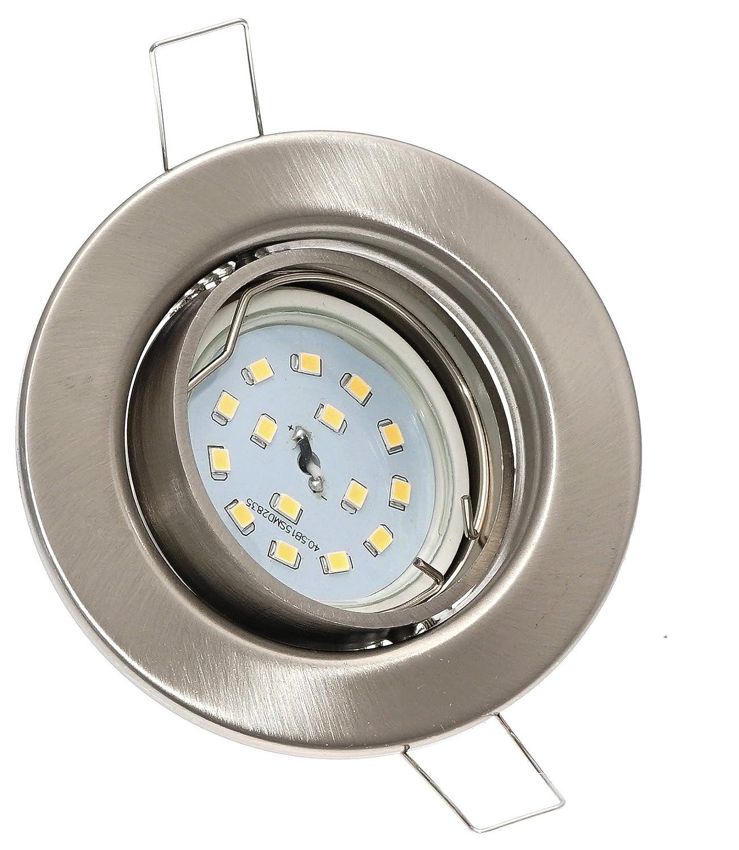 10er Set Decken Einbauspot Alva    Farbe Edelstahl geb.  inkl. 230Volt - 5 Watt SMD Leuchtmittel - entspricht einer 50 Watt Leuchte Lichtfarbe warmweiß sehr FLACH 30mm einbautiefe.