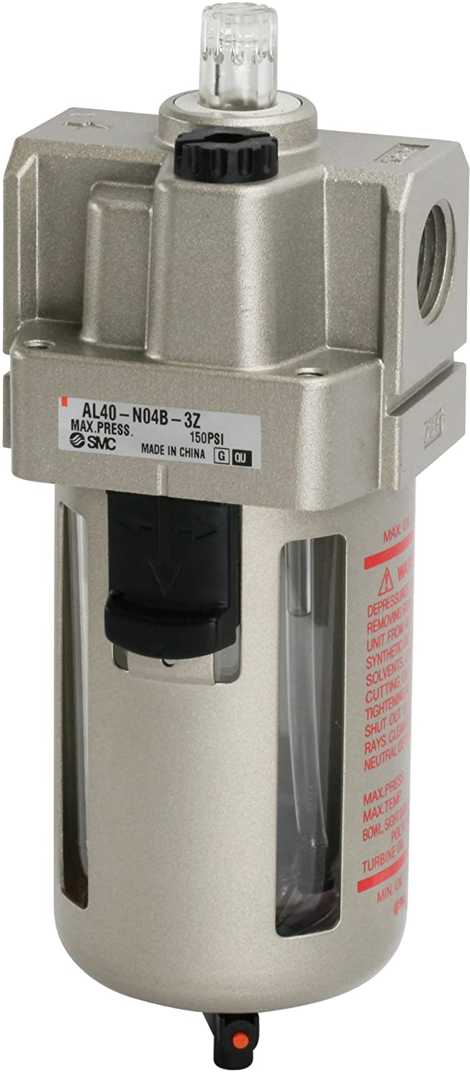 Mounting Bracket SMC AL40-N04B-3Z Lubricator 1//2 NPT 50 L//min Dripping Flow Rate 135 mL Oil Capacity Polycarbonate Bowl with Drain Cock