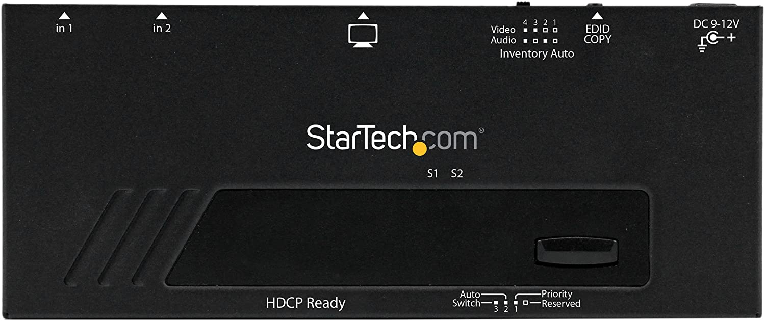 StarTech.com 2 Port HDMI Switch w// Automatic and Priority Switching 1080p 2 In 1 Out HDMI Selector with Automatic Priority Switching VS221HDQ