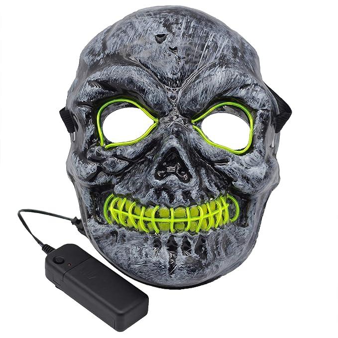Amazon.com: Kvvdi Adult Scary Halloween Masks Cosplay Led Costume ...