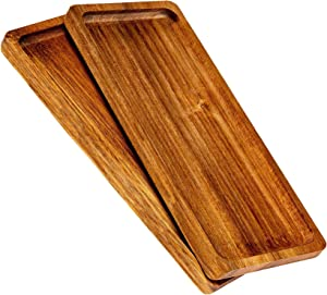 Strova Wood Serving Platters and Charcuterie Trays, Set of 2, Rustic Wooden Servers with Raised Edge, Serve Cheese, Sushi, Holiday Snacks, and More