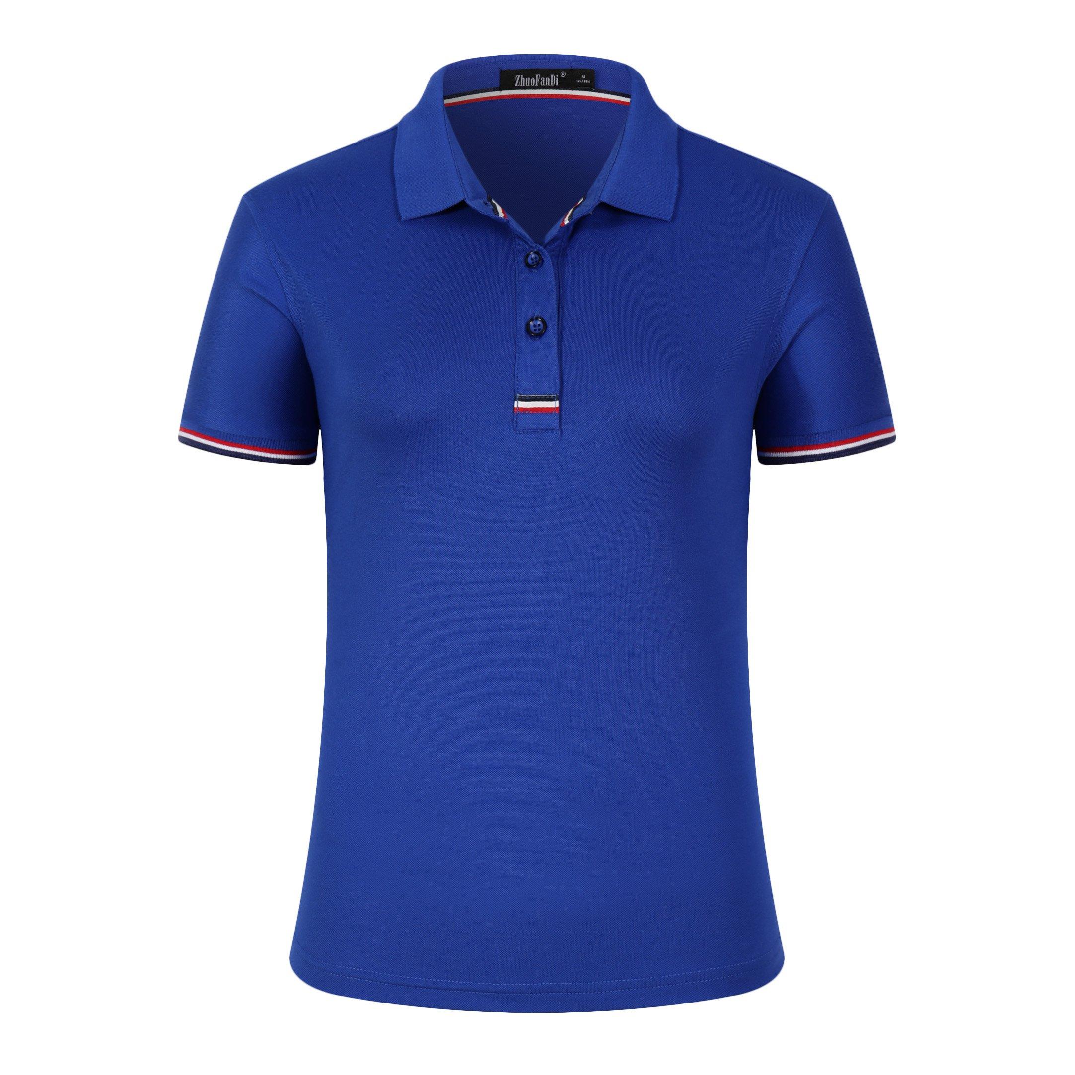 Mitario Femiego Women Classic Rainbow Collar Slim Fit Short Golf Polo Shirt Royal Blue S