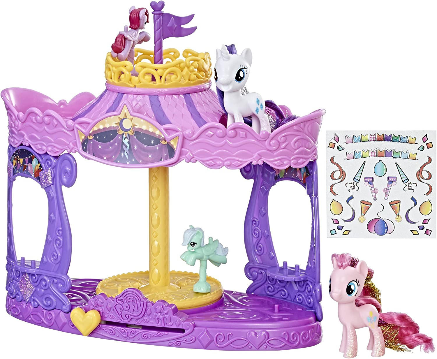 My Little Pony Musical Carousel with Pinkie Pie and Rarity 3-inch Pony Toys, Kids Ages 3 and Up (Amazon Exclusive)