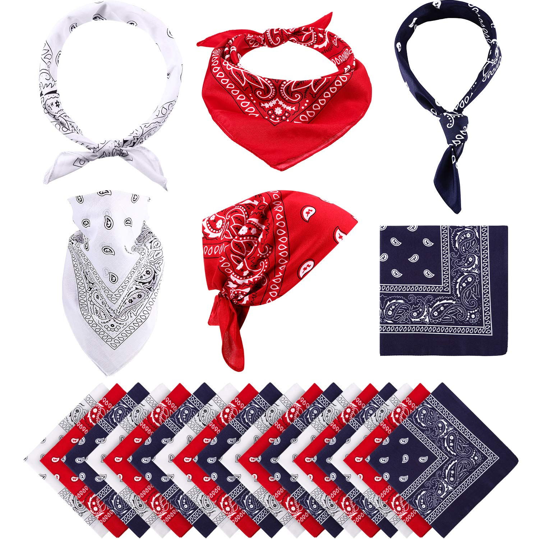 Blulu Paisley Bandanas Cowboy Bandanas Unisex Novelty Print Head Wrap Scarf Wristband for Adults and Kids Assorted Green, 6 Pieces