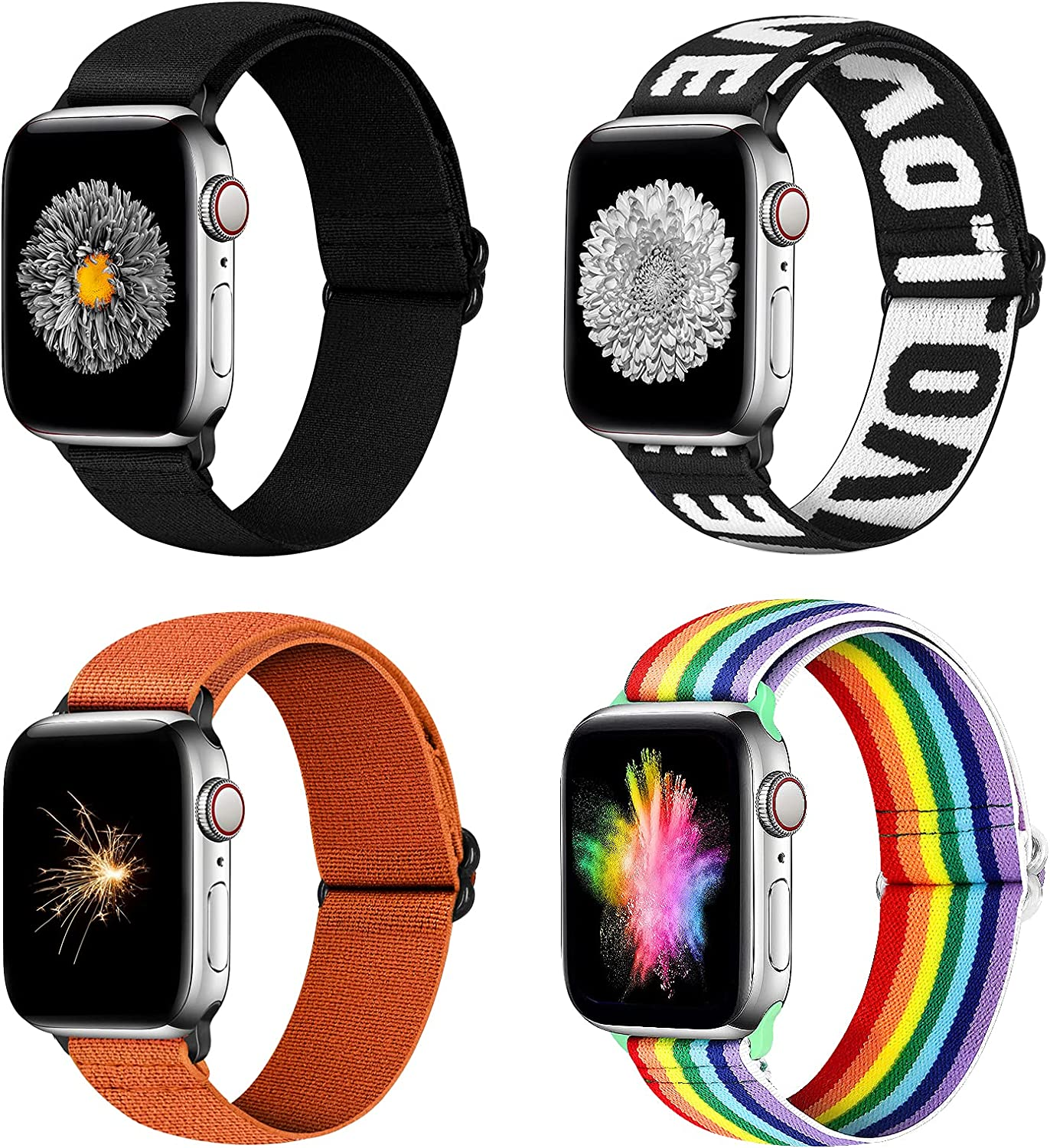 YCHDDER Nylon Elastic Watch Band Compatible with Apple Watch 42mm 44mm, Adjustable Sport Solo Loop Wristband Strap Compatible with iWatch Series 6/5/4/3/2 / 1SE(Black+Rainbow+LOVE+Orange)