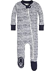 Burt's Bees Baby - Baby Boys Unisex Pajamas, Zip-Front Non-Slip Footed Sleeper PJs, Organic Cotton