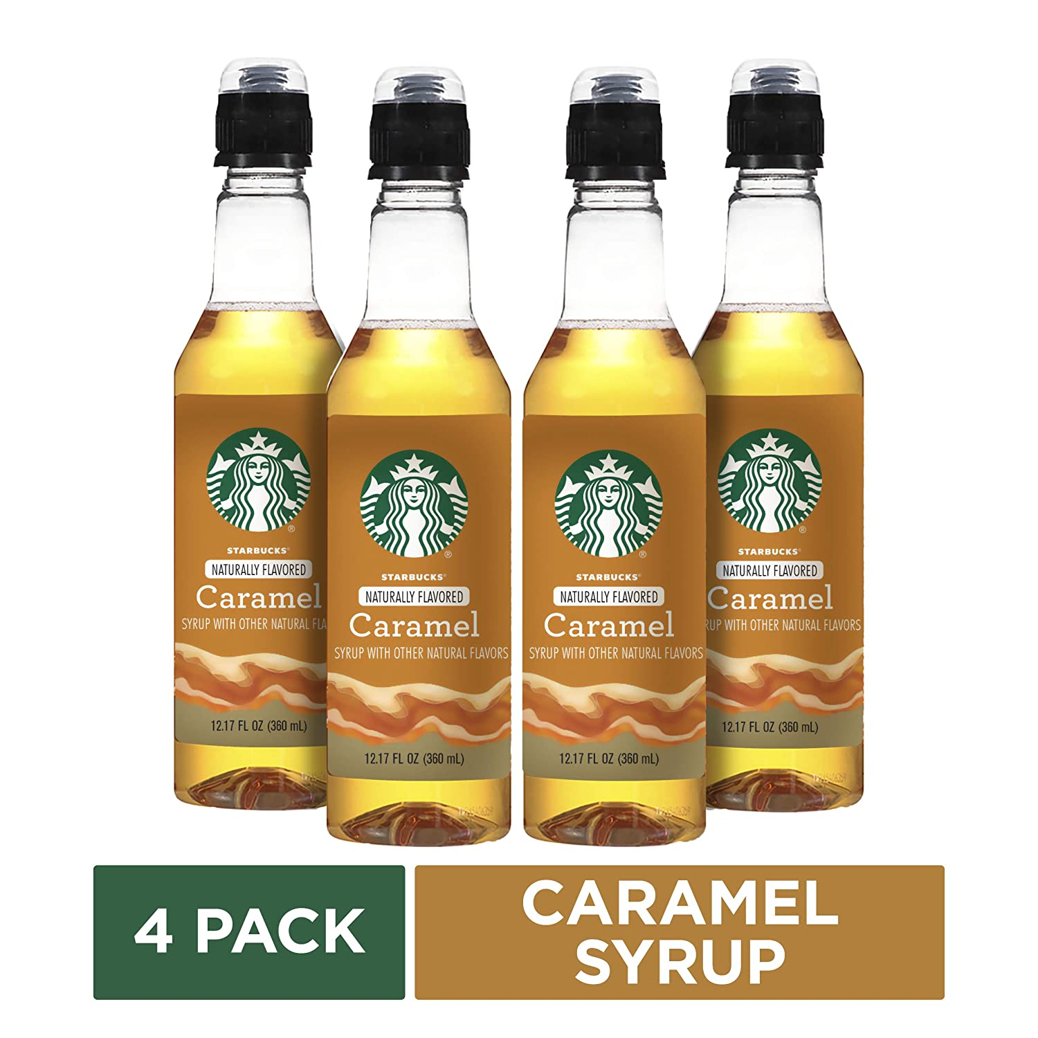Starbucks Naturally Flavored Caramel Coffee Syrup 4 Bottles Of 12 7 Fl Oz 360 Ml