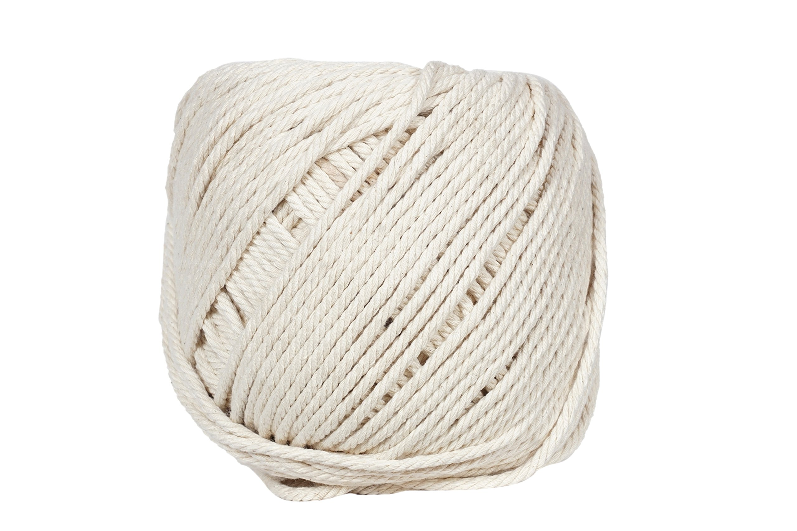 Macrame Cord 4mm X 110m(about 120 yd) Natural Virgin Cotton Handmade Decorations Macrame Wall Hangings Plant Hanger Crocheting Bohemia Dream Catcher DIY Craft Knitting - Soft Undyed Natural Color Rope