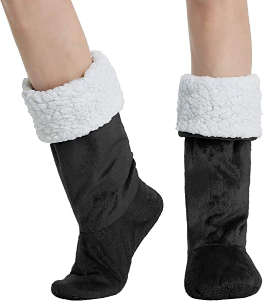 Cozy Non-Skid Sherpa Slipper Socks Super Soft Warm Fuzzy Lined Booties Slippers