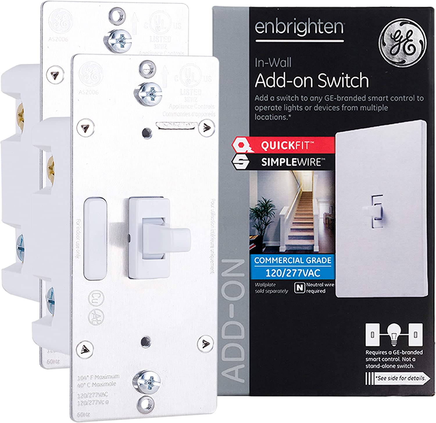 GE Enbrighten Add-On Switch 2-pack with QuickFit and SimpleWire, GE Z-Wave/GE Zigbee Smart Lighting Controls, Works with Alexa, Google Assistant, NOT A STANDALONE SWITCH, Toggle, 47895,White 2-pack