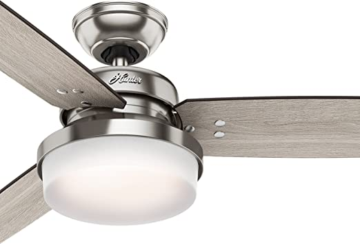 Brushed Nickel Renewed Hunter Fan 54 inch Contemporary Ceiling Fan in Brushed Nickel with LED Light and Remote