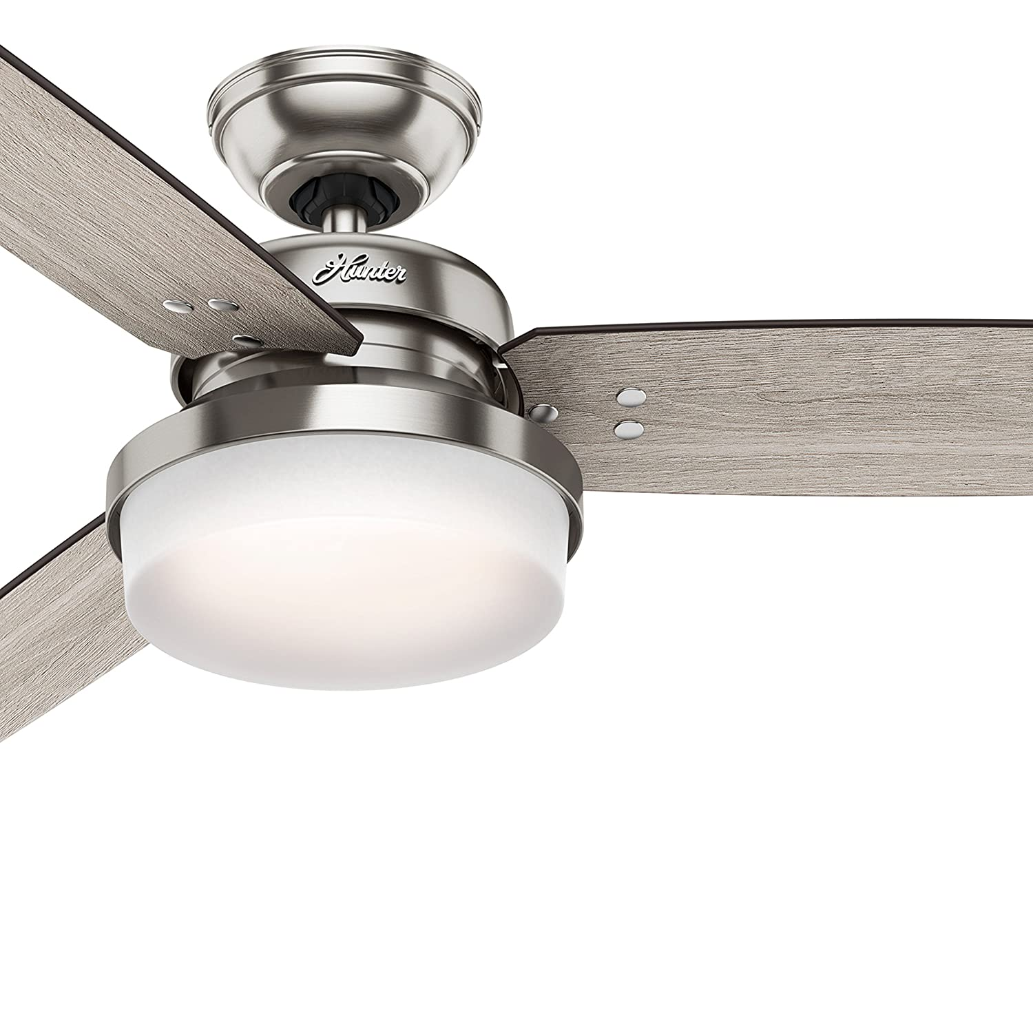 Hunter Fan 52 inch LED Ceiling Fan with Cased White Glass Light Kit, Brushed Nickel (Certified Refurbished)