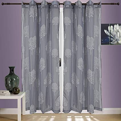 Linenwalas Elegant Rubber Tree Print Design Non Blackout Sheer Door Curtain with Eyelet Rings - Set of 2 - Silver - 4.5ftx7ft