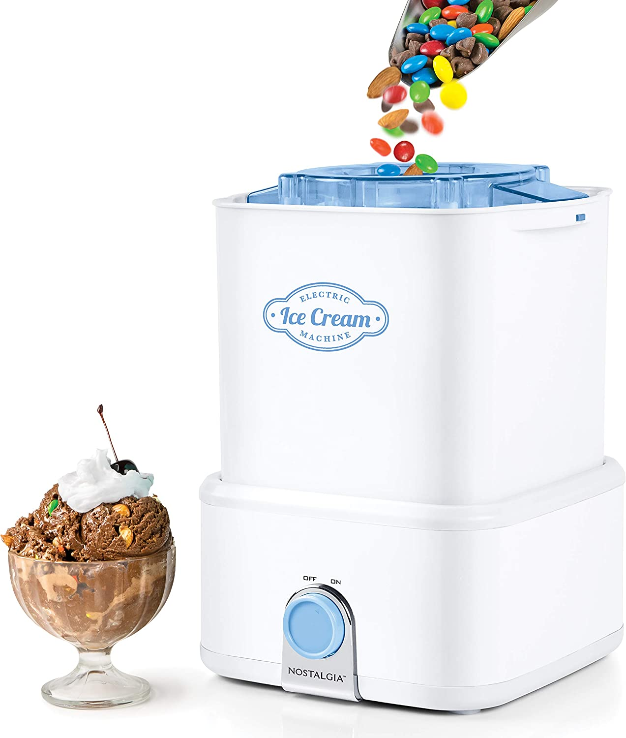 Nostalgia CICM2WB Electric Ice Cream Maker Crusher Makes 2-Quarts in Minutes, Frozen Yogurt, Sorbet, Works with Candy Bars, M&Ms, Chocolate Chips, Nuts & More, White/Blue
