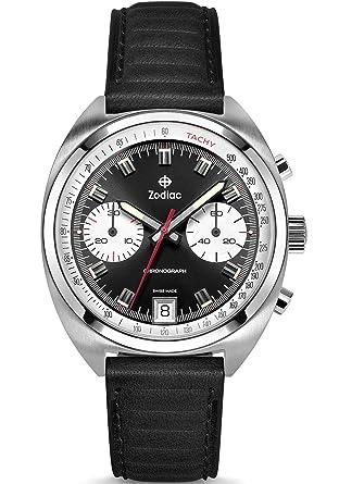 872e800da Amazon.com: Zodiac Men's Grandrally Stainless Steel Swiss-Quartz Watch with Leather  Strap, Black, 20 (Model: ZO9602: Watches