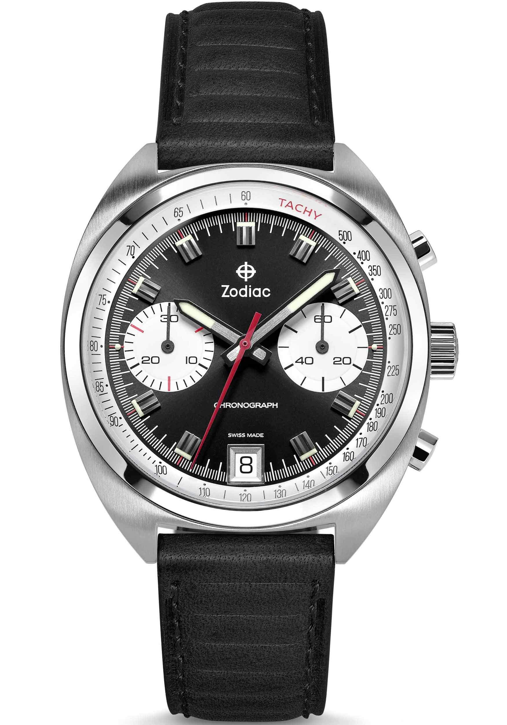 Zodiac Men's Grandrally Stainless Steel Swiss-Quartz Watch with Leather Strap, Black, 20 (Model: ZO9602