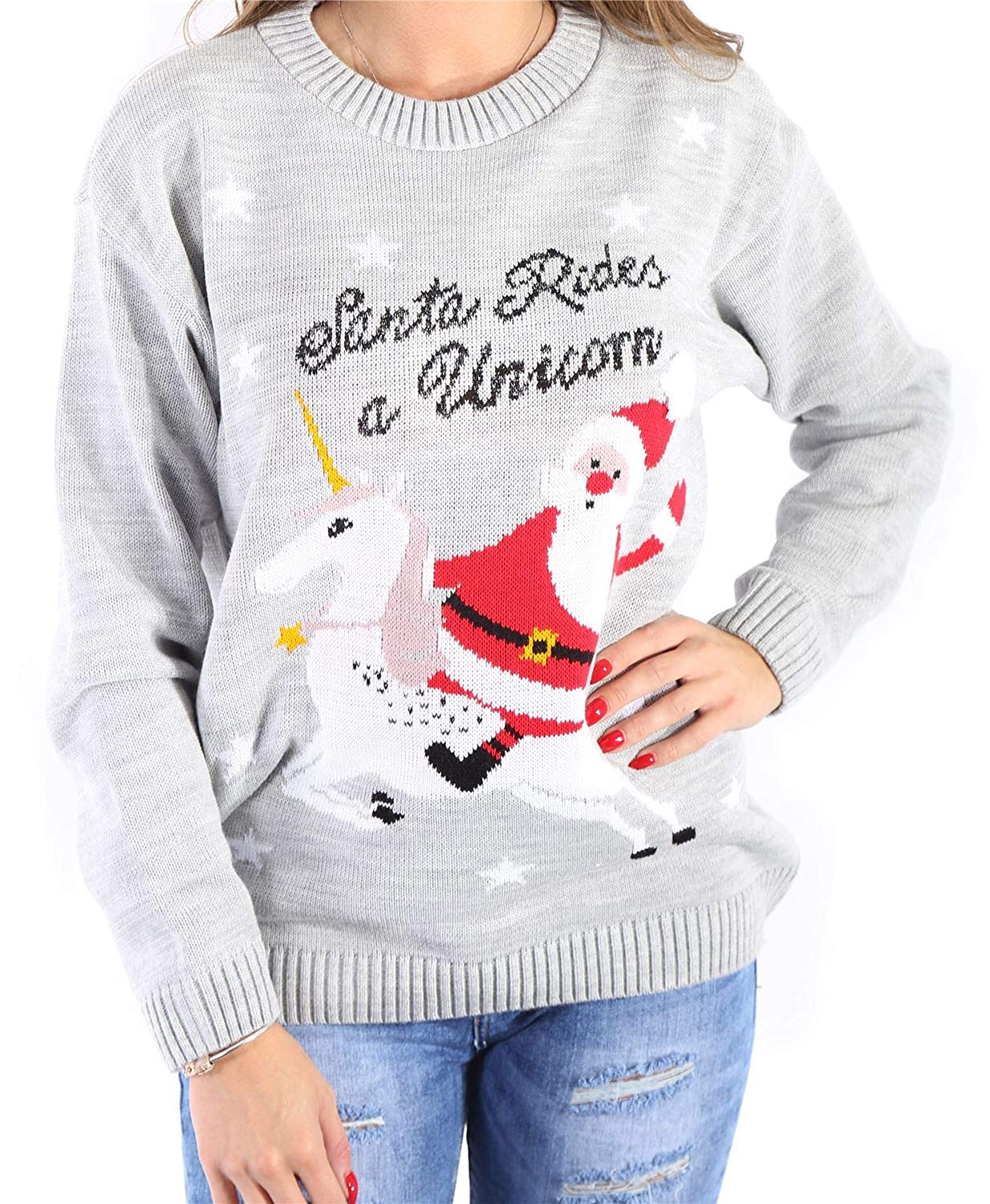 Mymixtrendz/® Kids Boys Girls Unisex Xmas Christmas Santa Suit Mr Cool Unicorn Pullover Long Sleeves Knitted Jumper Top