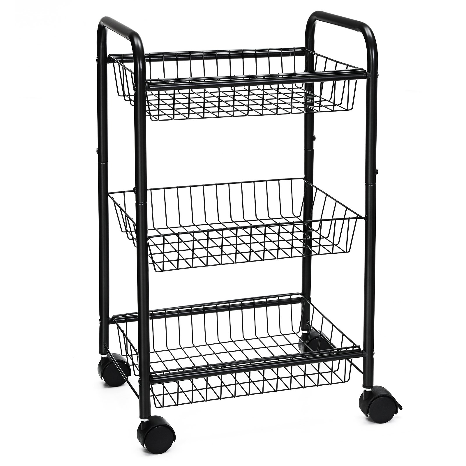 SONGMICS 3-Tire Metal Rolling Cart On Wheels with Baskets, Lockable Utility Trolley with Handles for Kitchen Bathroom Closet, Storage with Removable Shelves UBSC03BK by SONGMICS