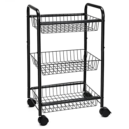 160492bf2bc6 SONGMICS 3-Tire Metal Rolling Cart On Wheels with Baskets, Lockable Utility  Trolley with Handles for Kitchen Bathroom Closet, Storage with Removable ...