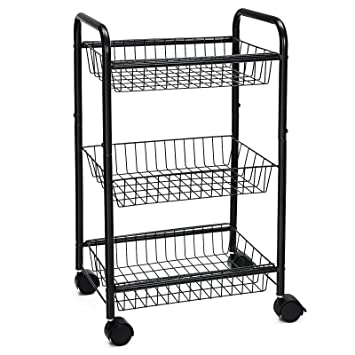 SONGMICS 3-Tire Metal Rolling Cart On Wheels with Baskets, Lockable Utility  Trolley with Handles for Kitchen Bathroom Closet, Storage with Removable ...