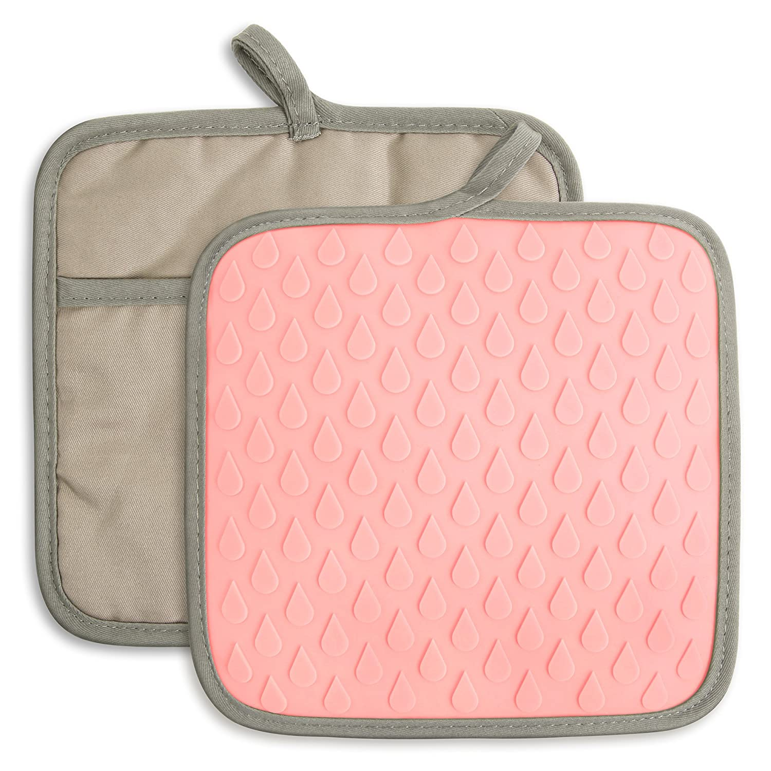 ELFRhino Silicone Heat Resistant Pot Holder Hot Mats Pads Oven Gloves Mitts Waterproof Non-slip Kitchen Mats for Cooking Potholders Grilling Baking Set of 2 Pink