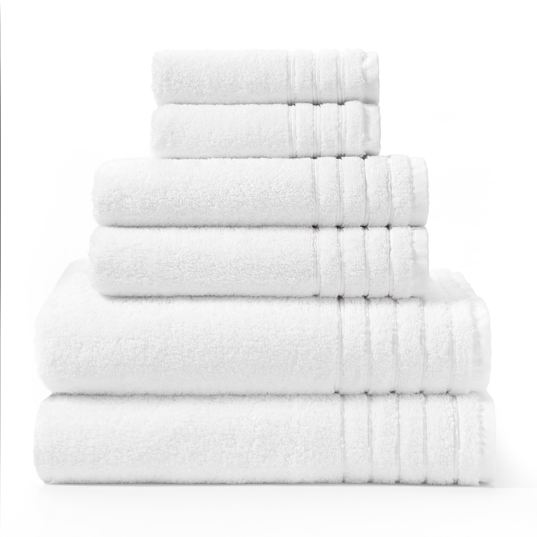 Cotton Craft - Super Zero Twist 6 Pack Towel Set - White - 7 Star Hotel Collection Beyond Luxury Softer Than A Cloud - Contains 2 Oversized Bath Towels 30x54, 2 Hand Towels 16x30, 2 Wash Cloths 13x13