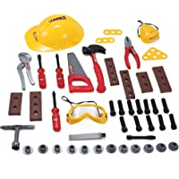 52 Pcs Construction Hard Hat with Pretend Play Tools for Kids with Nuts and Bolts and Safety Accessories Set