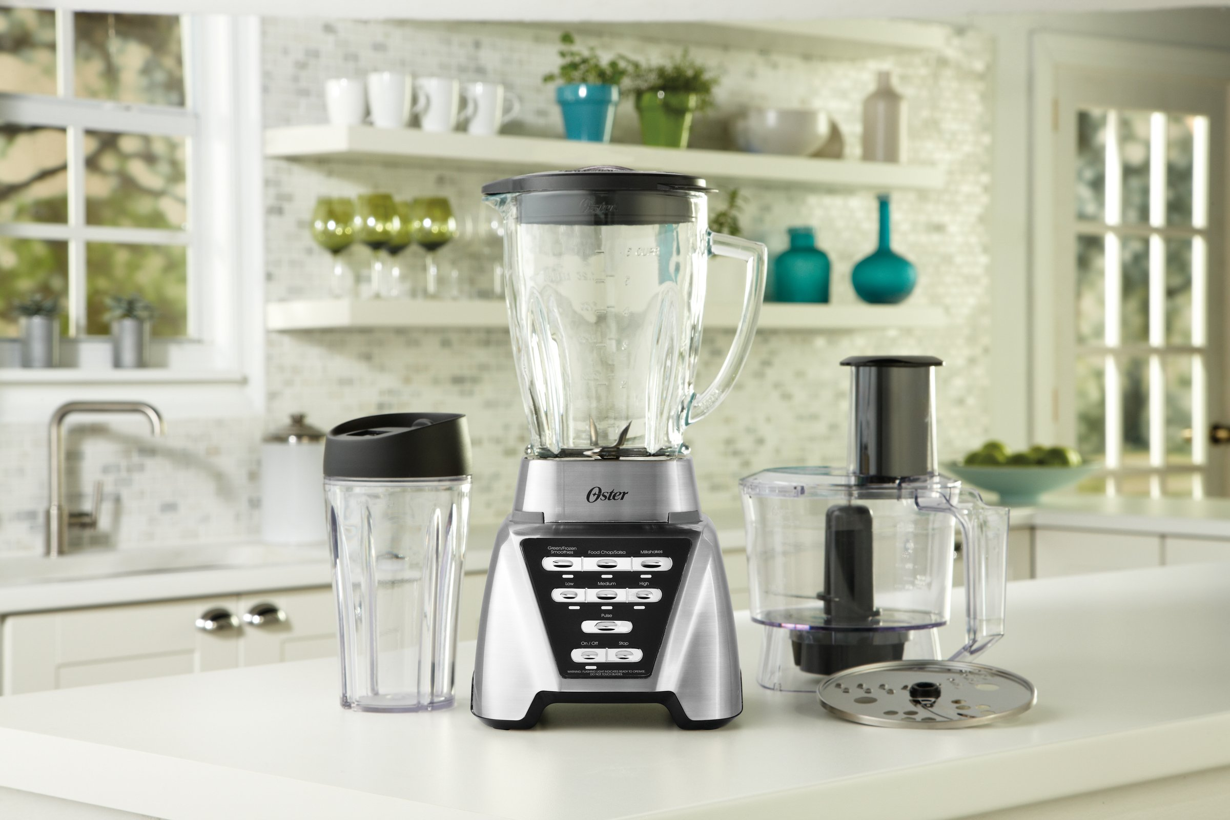 Oster Pro 1200 Blender with Glass Jar plus Smoothie Cup & Food Processor Attachment, Brushed Nickel by Oster (Image #7)