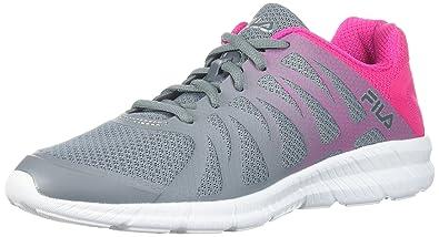63a7e6149b3c Fila Women's Memory FINITION Running Shoe, Monument/Pink GLO/Metallic  Silver, 8.5
