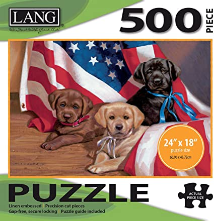 Lang - 500 Piece Puzzle -American Puppy, Artwork by Jim Lamb - Linen Finish - 24 x 18 Completed