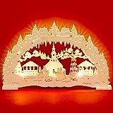 SIKORA Décoration de Noël lumineuse à LED en bois découpé représentant un paysage d'hiver largeur 43 cm