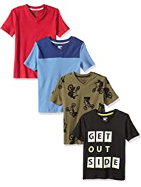 0e6c94001 Amazon Brand - Spotted Zebra Boys' Toddler & Kid 4-Pack Short-Sleeve