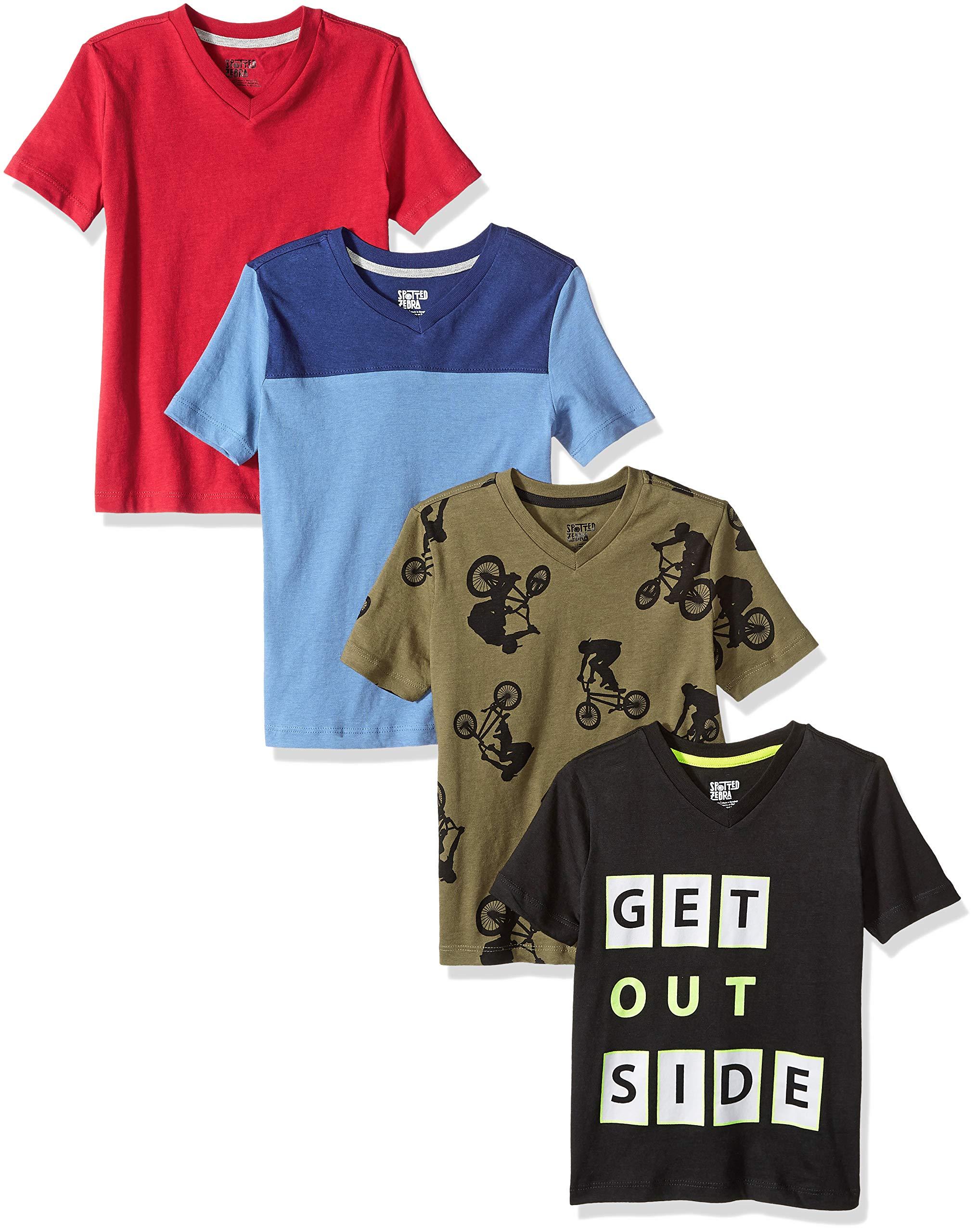 Amazon Brand - Spotted Zebra Boys' Little Kid 4-Pack Short-Sleeve V-Neck T-Shirts, Go Outside, Small (6-7) by Spotted Zebra
