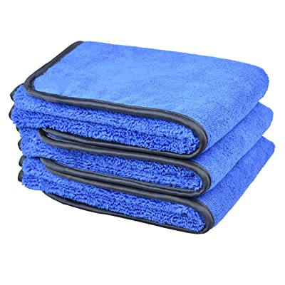 """SINLAND Microfiber Car Wash Cloths 400gsm Two Different Sides for Cleaning Polishing 3-Pack (16""""x24"""", Bluex3): Automotive"""