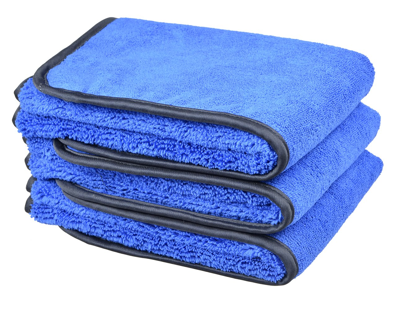 Microfiber Car Wash Cloths 400gsm Tow Different Sides for Cleaning Polishing 3-pack (16'x24', Bluex3) Sinland