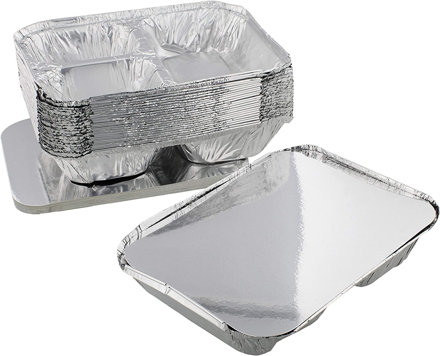 Lot45 Aluminum Catering Pan 3 Sections, 25pk - Disposable Aluminum Tray Foil Pans, Oven Pans Take Out Pans for Catering
