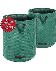Deuba Sacchi di Giardino 2 pz 280 Litri Max. Carico 50 kg Giardinaggio Sacchi rifiuti da Giardino