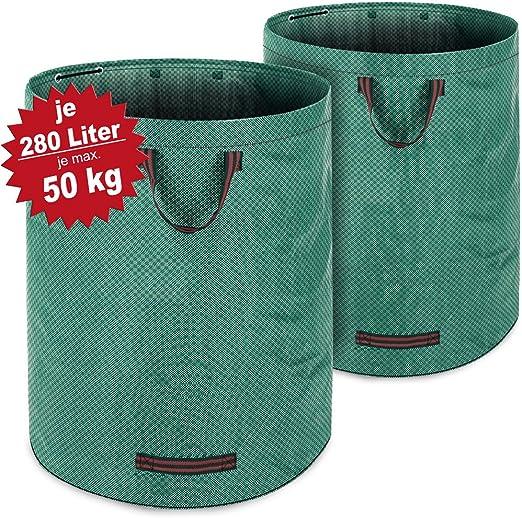 Deuba 2 x Bolsas de basura saco para desechos para jardín Verde 280 L hasta 50Kg 3 asas plegable doble costura robusto: Amazon.es: Jardín