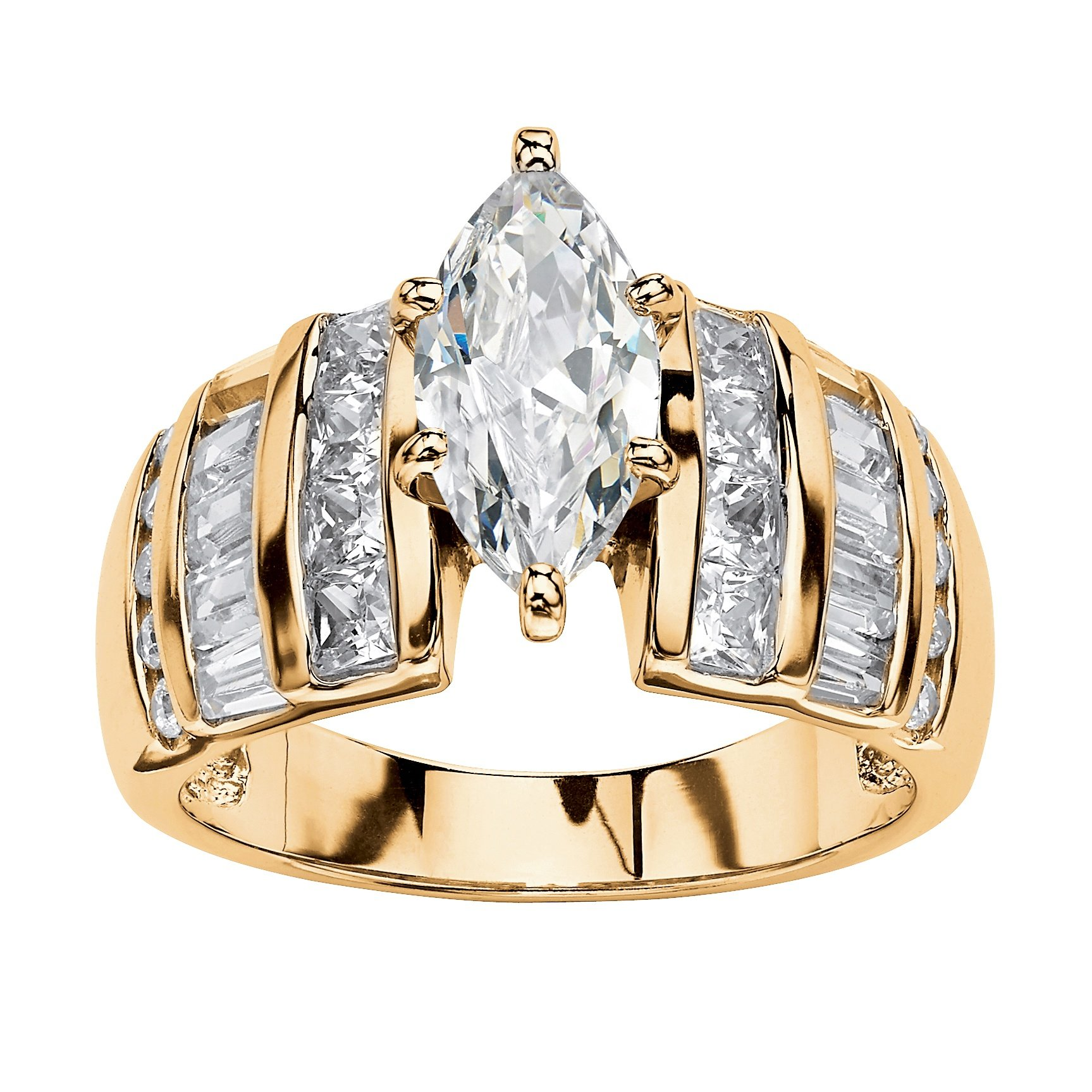 14K Yellow Gold over Sterling Silver Marquise Cut Cubic Zirconia Step Top Engagement Ring Size 9