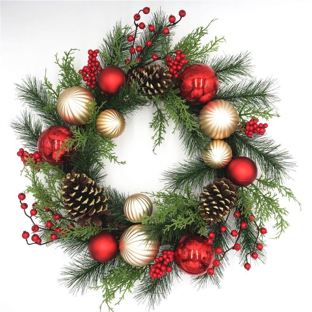 Red and Gold Christmas Wreath for Front Door Quality Plastic Mercury Glass Ornaments Pine Cones Faux Berries Premium Pine Branches Cedar Greens Unlit Indoor Outdoor Holiday Decoration 22 Inch by Wreaths For Door