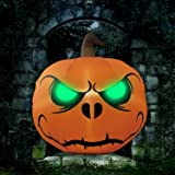 Halloween Party Decorations Outdoor Inflatables Pumpkin - 4 Ft Green Eyes, Halloween Blow Up Yard Decor with LED Lights, Hall