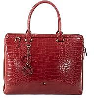 Cloe - Porta Laptop Color Rojo para Mujer Look Croco