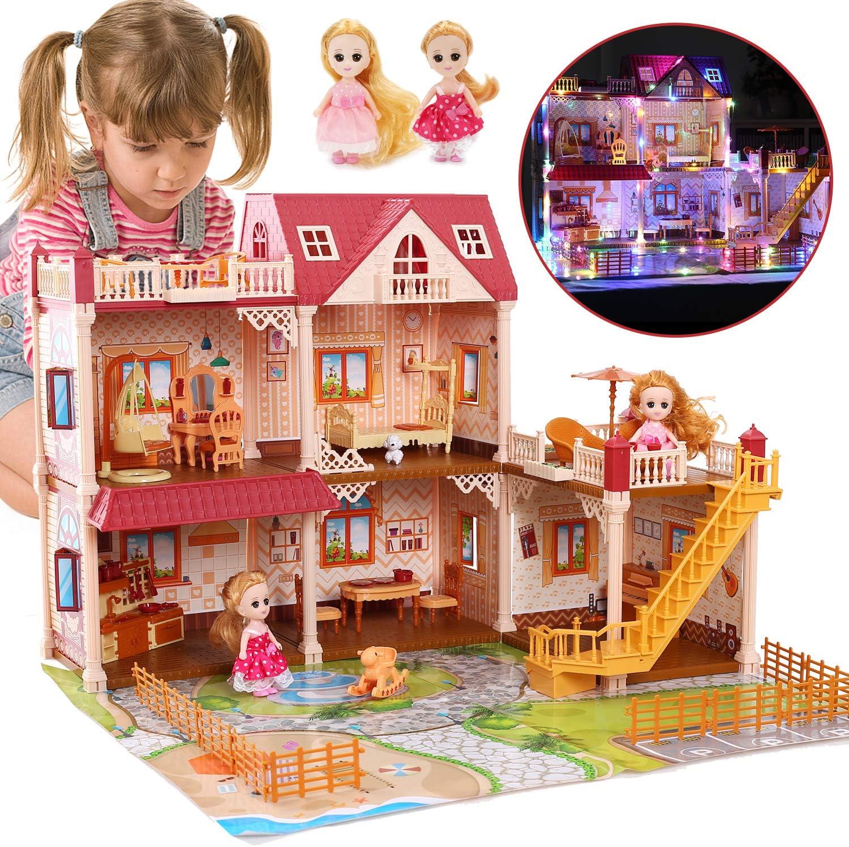 CUTE STONE Flashing Light Dollhouse Dream House Includes 2 Dolls, 26.3