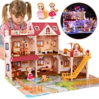 """CUTE STONE 5 Rooms Huge Dollhouse with 2 Dolls and Colorful Light, 26"""" x 23"""" x 20"""" Dream House Doll House Dreamhouse…"""
